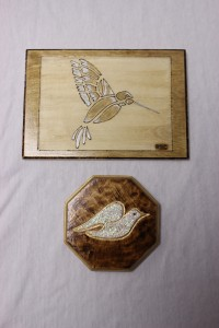 Dove and Hummingbird wood burnings