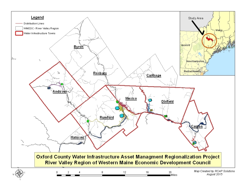 Figure 1:  Oxford County Water Infrastructure Asset Management Project showing the five core towns and the four other towns comprising the River Valley Region of the Western Maine Economic Development Council.
